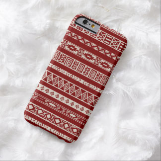 Aztec Tribal Ethnic Geometric Pattern Red Beige Barely There iPhone 6 Case