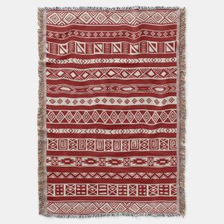 Aztec Tribal Ethnic Geometric Pattern Red Beige Throw Blanket