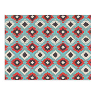 Aztec Tribal Native American Red Blue Pattern Gift Postcard