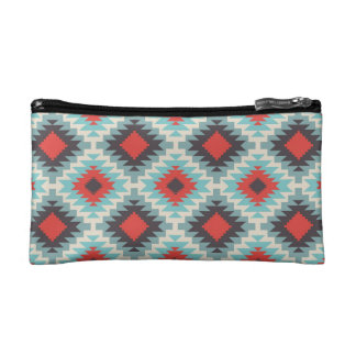 Aztec Tribal Native American Red Blue Pattern Makeup Bags