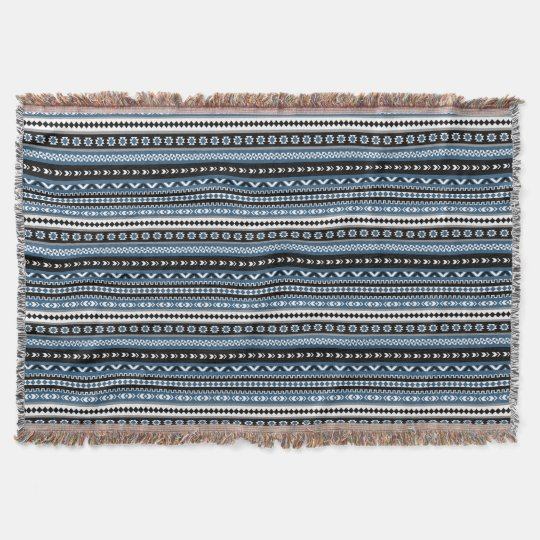 Aztec Tribal Pattern in Blue Grey White Black