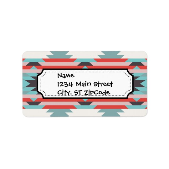 Aztec Tribal Pattern Native American Red Blue Address Label