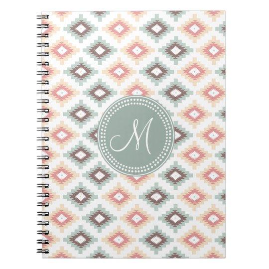 Aztec Tribal Pink Pink Monogram Pattern Notebooks