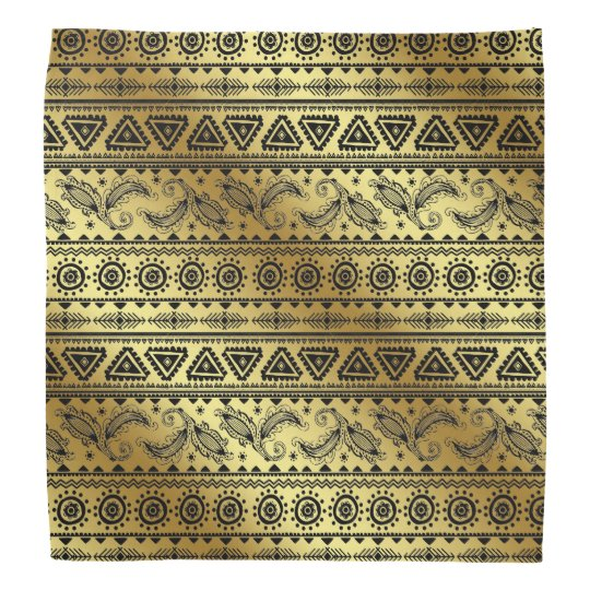 Aztec Tribal Print Neutral Black & Gold bandanna