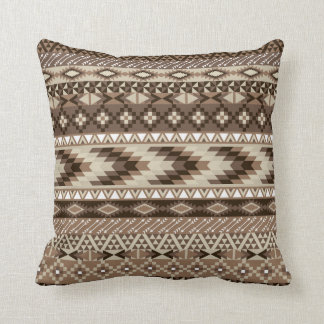 Aztec Tribal Print Neutral Browns Beige Taupe Cushion