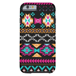 Aztec Tribal print pink turquoise black gold Tough iPhone 6 Case