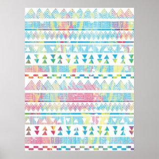 Aztec tribal vibrant abstract watercolors splatter poster