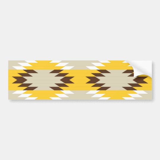 Aztec Tribal Yellow Brown Native American Designs Bumper Sticker