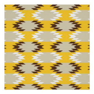 Aztec Tribal Yellow Brown Native American Designs Poster