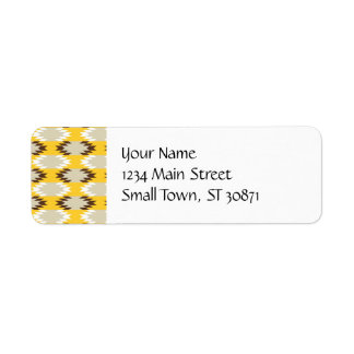 Aztec Tribal Yellow Brown Native American Designs Return Address Label