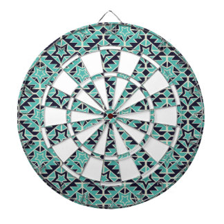 Aztec turquoise and navy dartboard