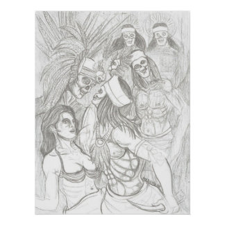 aztec virgin being saved by warrior poster