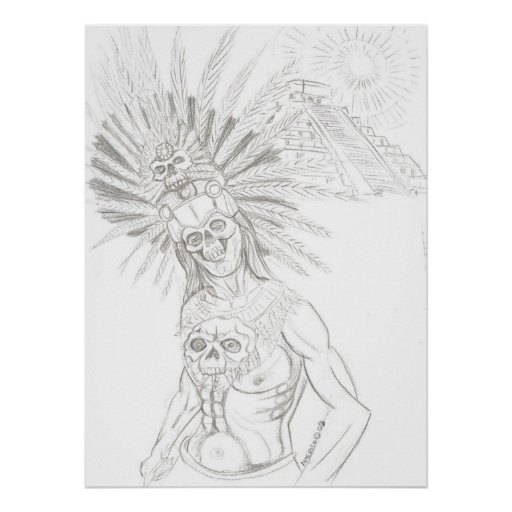 aztec warrior and chicchen itza poster