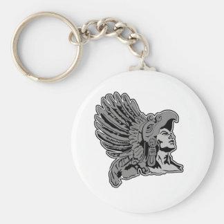 aztec warrior basic round button key ring