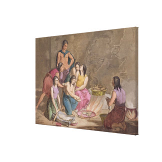 Aztec women making maize bread, Mexico, from 'Le C Canvas Print