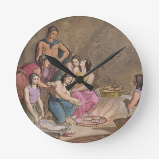 Aztec women making maize bread, Mexico, from 'Le C Round Clock