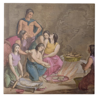 Aztec women making maize bread, Mexico, from 'Le C Tile