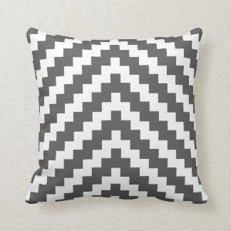 Aztec Zigzag in Charcoal and White Cushion
