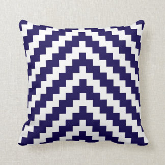 Aztec Zigzag in Cobalt Blue and White Throw Pillow