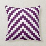 Aztec Zigzag in Purple Plum and White Cushion