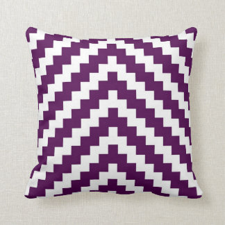 Aztec Zigzag in Purple Plum and White Throw Pillow