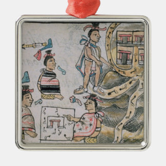 Aztecs consulting and following a map christmas ornament