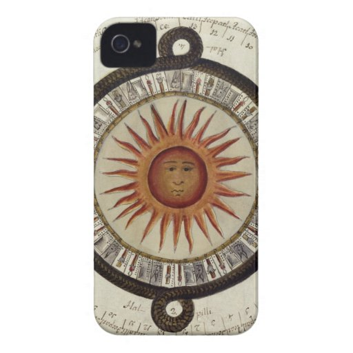 Aztecs Mexican Calendar Sundial Sun 1790 vintage Case-Mate iPhone 4 Cases