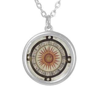 Aztecs Mexican Calendar Sundial Sun 1790 vintage Round Pendant Necklace