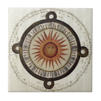 Aztecs Mexican Calendar Sundial Sun 1790 vintage Small Square Tile