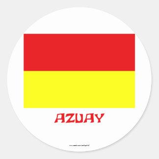 Azuay flag with Name Round Sticker