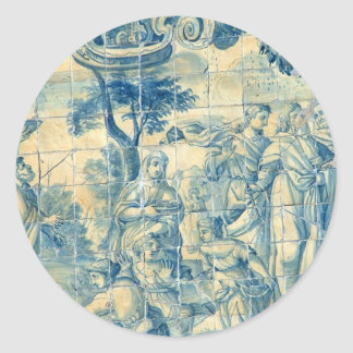 Azulejo tile round stickers
