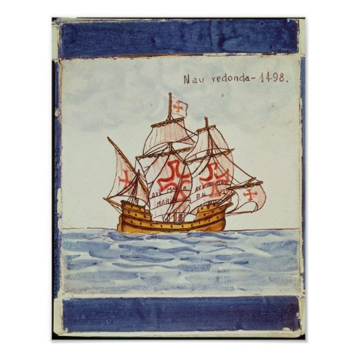Azulejos tile depicting a ship, from Sagres Posters