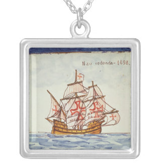 Azulejos tile depicting a ship, from Sagres Silver Plated Necklace