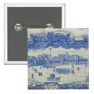 Azulejos tiles depicting the Praca do Comercio 15 Cm Square Badge