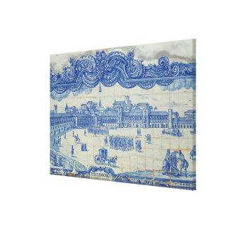 Azulejos tiles depicting the Praca do Comercio Canvas Prints