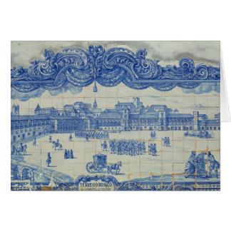 Azulejos tiles depicting the Praca do Comercio Greeting Card