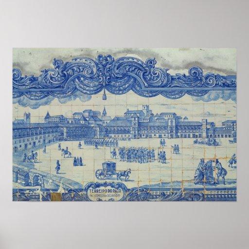 Azulejos tiles depicting the Praca do Comercio Poster