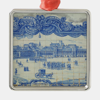 Azulejos tiles depicting the Praca do Comercio Silver-Colored Square Decoration