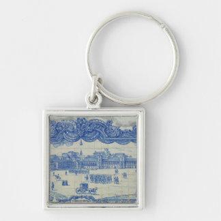 Azulejos tiles depicting the Praca do Comercio Silver-Colored Square Key Ring