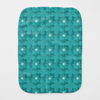 Azur green Flowers in 3D , Artdeco Burp Cloth