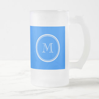 Azur High End Colored Monogram Initial Frosted Beer Mugs