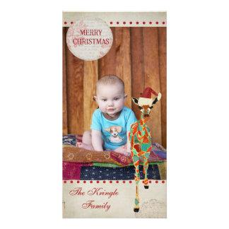 Azure & Amber Giraffe Christmas Photo Card