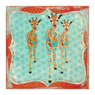 Azure & Amber Giraffes Vintage  Canvas Canvas Print