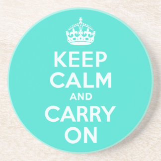 Azure and Turquoise Keep Calm and Carry On Coaster