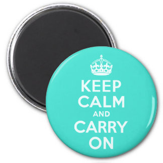 Azure and Turquoise Keep Calm and Carry On Magnet
