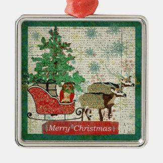 Azure Axis & Rose Owl Merry Christmas Sleigh Ride Square Metal Christmas Ornament