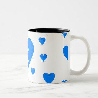 Azure Blue and White Hearts Monogram Coffee Mugs