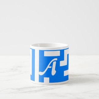 Azure Blue and White Maze Monogram Espresso Mug