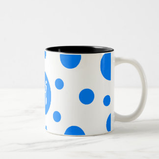 Azure Blue and White Polka Dots Monogram Two-Tone Mug