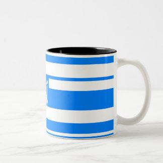 Azure Blue and White Random Stripes Monogram Mugs